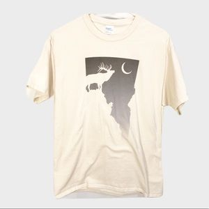 Port&Company Cotton Tan Elk Moon Graphic T Shirt